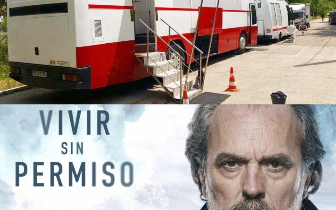 Autobús camerino para el rodaje de la serie Vivir sin permiso